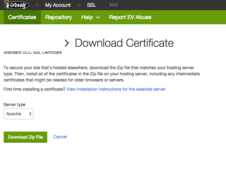 Generate GoDaddy SSL Certificate ( crt) for Azure Websites