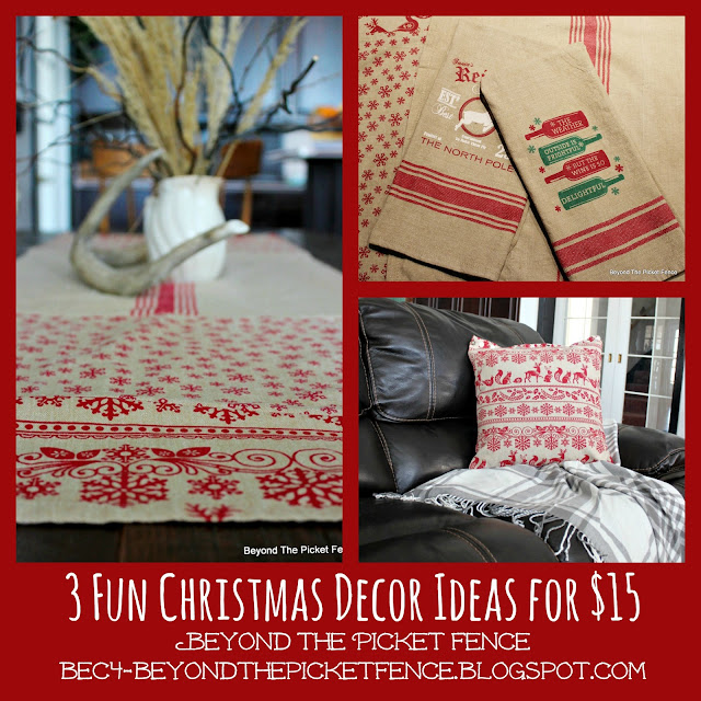 christmas ideas, christmas decor, DIY, sewing, Christmas gifts, budget decor,http://bec4-beyondthepicketfence.blogspot.com/2015/11/12-days-of-christmas-day-5-table-runner.html