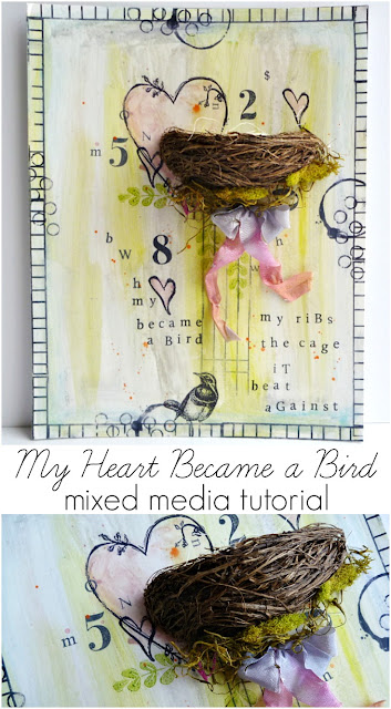 My Heart Became A Bird Mixed Media Tutorial by Dana Tatar for Paper Wings Productions