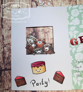 "Birthdaycard inside with racoons from Art Impressions Set ""Any Cake"", Lawn Fawn ""Year Three"" Cake and Copic coloring"