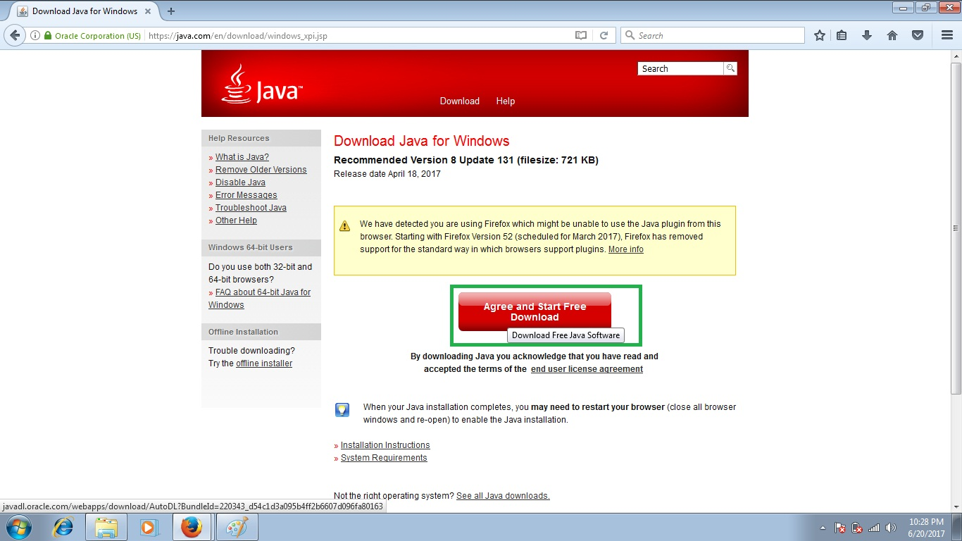 How to install Java properly on Mozilla Firefox to run Biometric or