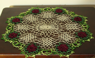 Red Rose Doily with 8 3D Roses in Green Lace around a Beige Lattice Center - Handmade By Ruth Sandra Sperling in RSS Designs In Fiber
