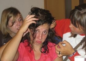 Checking for head lice.