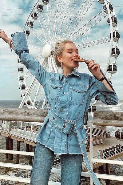Belted Denim Jacket in Light Blue | 19 Gorgeous Fall Outfits You Want to Wear Over And Over Again