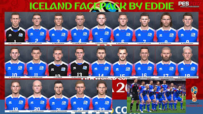 PES 2017 Facepack Iceland National Team World Cup 2018 by Eddie Facemaker