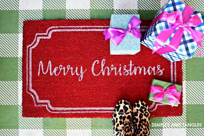 leopard boots, merry christmas front door mat, gingham rug