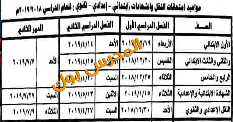 جدول امتحانات نصف العام ابتدائي واعدادي وثانوي 2019 , موعد امتحانات نصف العام 2018/2019