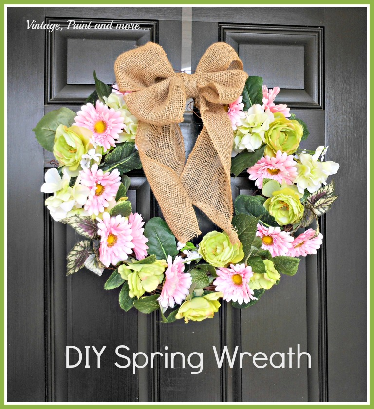 "Vintage, Paint and more... DIY spring wreath with ""faux"" flowers, grapevine wreath and burlap ribbon"