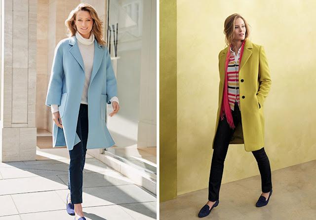 Женщины в голубом и лимонном пальто