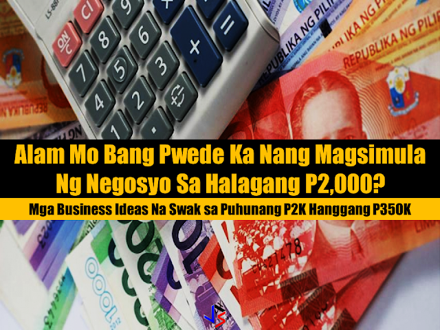o you know that starting a business does not require millions of cash? In fact you can start your own with as small as P2,000. Yes all you need is the willingness and sustained eagerness to run it and make it grow. However, some businesses would require equipment and skills but it is not impossible o acquire it. When it comes to market, you can maximize social media and technology to work on your advantage.  Here are five businesses you can put up with a capital as low as P2,000 to P350,000.   Who doesn't have a smartphone nowadays? For as low as P2,000, you can start loading  business and earning at home or even almoist anywhere. However, unlike other small businesses, don't expect to earn much from this venture. As a load retailer, you get your earnings through a commission, which can be 3% to 13% per transaction. For example, a prepaid load worth P50 may deduct P47 from your load wallet, leaving you with a P3 profit. This, of course, depends on your chosen telecommunication company.  Items to invest in: Basic phone, retailer SIM card, starting balance of P500  Cost estimate: P2,000 to P3,000 Sponsored Links  Do you like baking during free time? Why not turn your hobby into a business? A cake and pastry business is a great way to earn money even at home. With a low capital of P3,000, you can start baking bread and cupcakes to friends and on social media. Start by determining the audience you wish to cater to (moms, children, companies, etc.) and attract them into your venture. Identify your specialty and let that be the highlight of your products. Don't forget to find a supplier who can provide ingredients at a low price and build a Facebook or Instagram page to help you advertise your business.  Items to invest in: Oven, mixer, cake pans, cupcake liners, decorating tools, cooling rack, measuring spoons, mixing bowls  Cost estimate: P3,000 to P5,000 if you already have equipment. P40,000 to P50,000 is you still have to invest in equipment and materials.  It's easy to earn from a t-shirt printing business, especially if you already have connections within companies and organizations. Apart from customized tees, you can also focus on printing office uniforms, jerseys, hoodies, and canvas bags. However, before putting up this kind of business, it is best to learn different printing methods (digital printing, silkscreen, direct to garment) for a more specialized venture. You can start your business at a spacious garage at home or rent a small commercial space.  Items to invest in: Computer, printer for pigment ink, printer for sublimation ink, heat press, silk screen line table, rotary press, flash dryer, frames, squeegees, t-shirts  Cost estimate: P150,000 to P200,000  Interested in owning a food cart business? Companies like Franchise Manila and Food Cart Corner can help you find a food cart franchise that suits your budget, interest, and target market. Food carts offering one or two products typically start at a franchise fee of P50,000, which includes equipment, training, and marketing support. More popular food cart franchises like Potato Corner and Bibingkinitan can cost as much as P300,000.  When investing in a food cart business, choose a location with good foot traffic such as malls, terminals, and cafeterias. Also, don't forget to secure an emergency fund for unforeseen circumstances. Remember that real profit only comes in once you've earned the money you've invested in your franchise fee.  Items to invest in: Whatever item you think can improve your business. Franchisors usually provide equipment and initial supplies to help start your business.  Cost estimate: P50,000 to P300,000  If you find a place with no water station or is far from one, take the opportunity and put up a water refilling business. There is a high demand for clean and drinkable water especially in rural areas. With a budget of P100,000 you can franchise a water refilling station like Crystal Clear or Bluewaters. Starting your own brand, on the other hand, can cost as much as P350,000. The investment is worth the money, though. Water is highly profitable and does not expire unlike other products in the market.  Items to invest in: Water refilling machine, slim water bottles, round water bottles, heat gun, stickers, delivery vehicle  Cost estimate: P100,000 to P350,000 Final Thoughts With strategy and creativity, you can be your own boss even with low capital. Determine your market and find a business that does not only suit your interest but is highly profitable as well.Source: MoneyMax Advertisement Read More:       ©2017 THOUGHTSKOTO