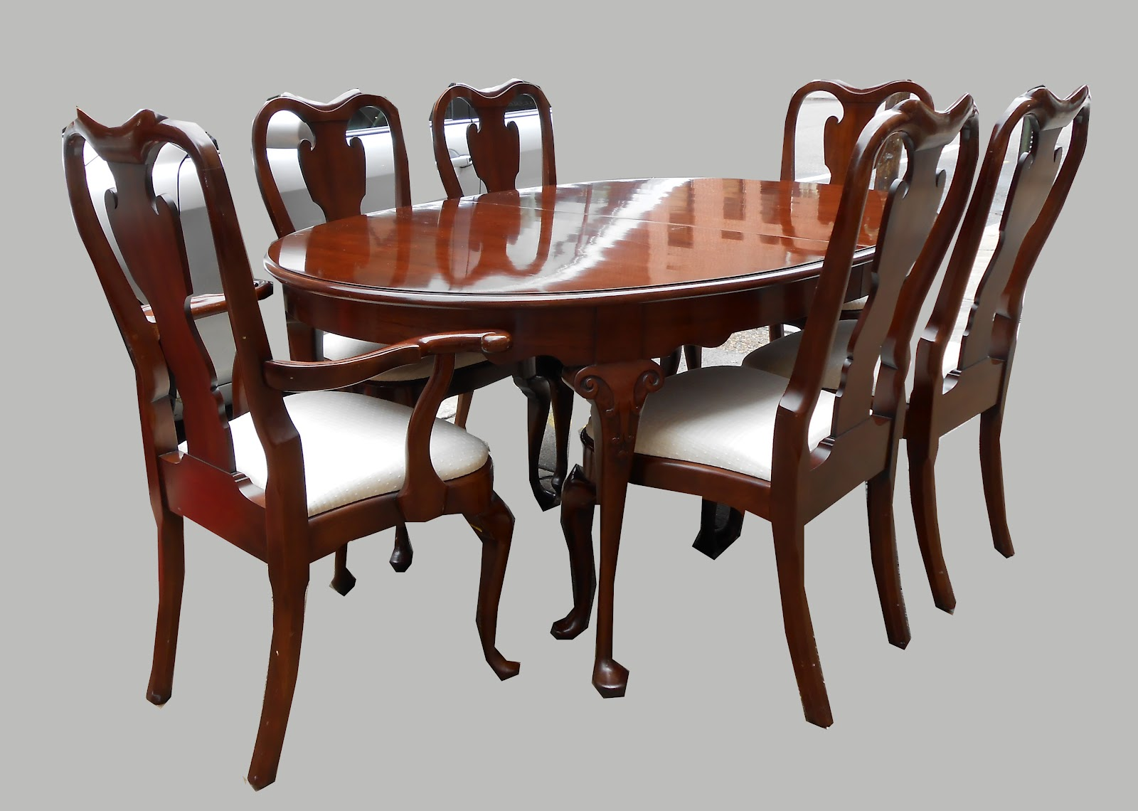 Queen Anne Style Dining Table 6 Chairs Sold