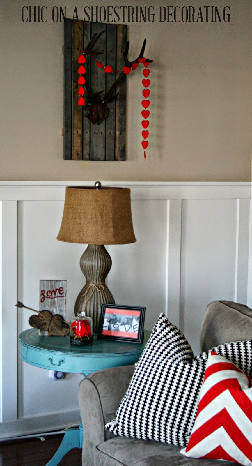 Rustic Chic Valentines Day decor by Chic on a Shoestring Decorating blog