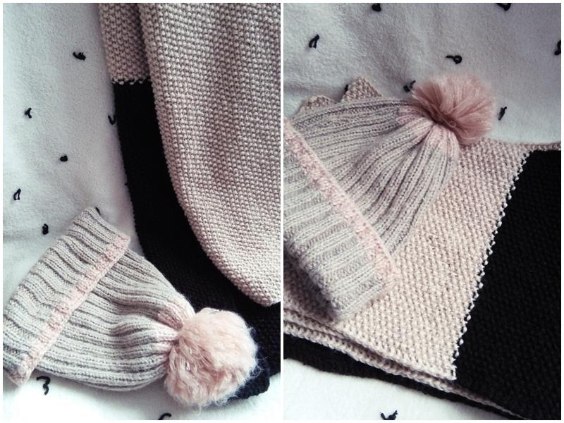 oryginalny, dwukolorowy szal robiony na drutach