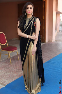 Priyanka Ramana in Beautiful Designer Black Saree At We Craft Elegance Expo Launch 054.JPG