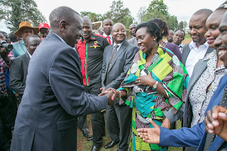 """Let farmers take back their title deeds that were tied to these loans."" President said before deputy president greeted Martha Karua."