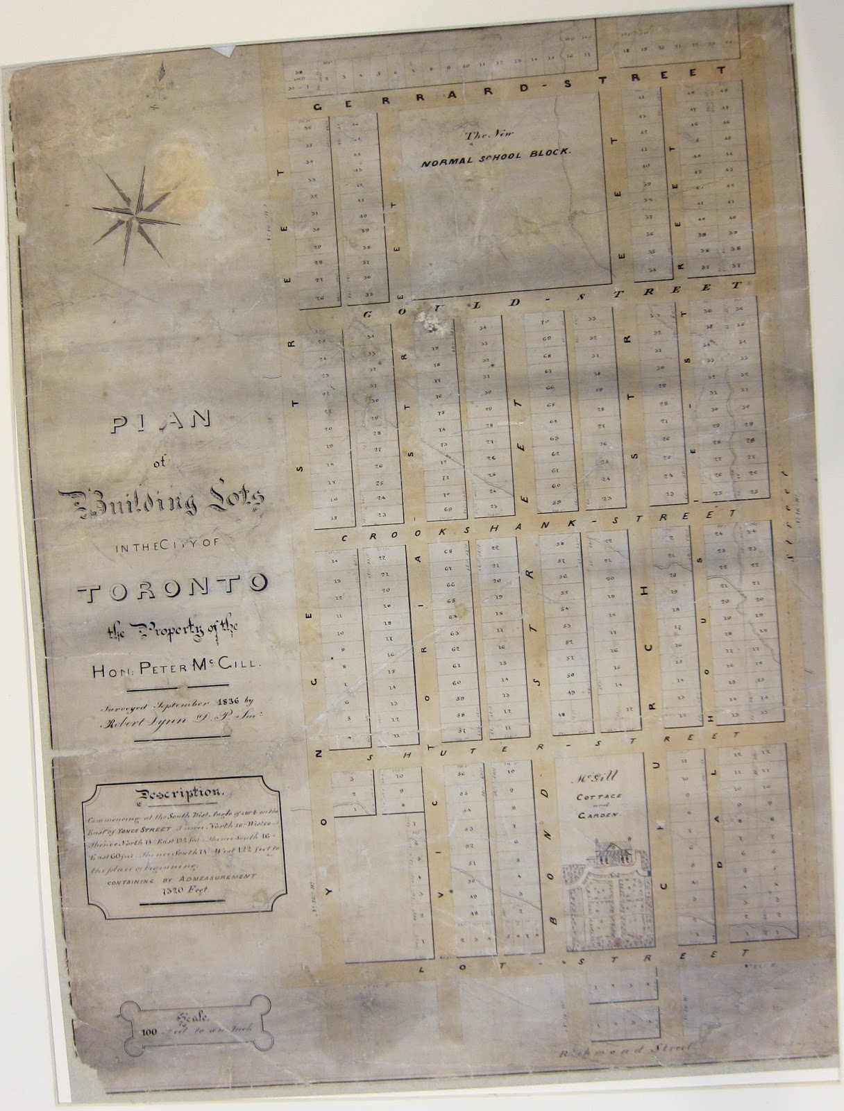 Map: an 1836 subdivision plan by Robert Lynn of lands held in Toronto by Peter McGill, including where Ryerson sits today