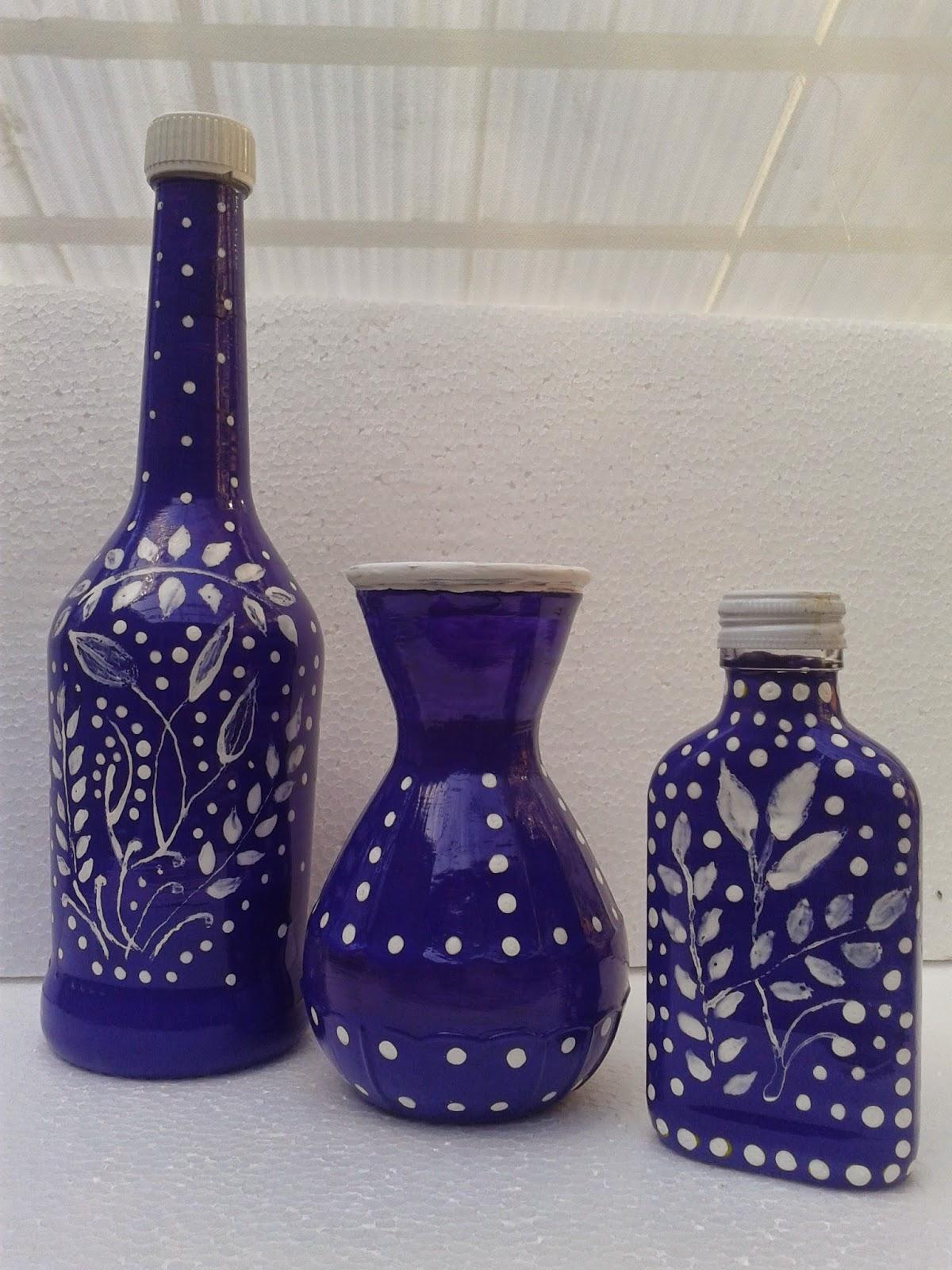 Butelki ozdobne ręcznie malowane