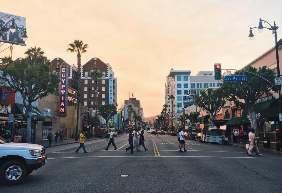 hollywood boulevard at sunset, travel blogger in LA