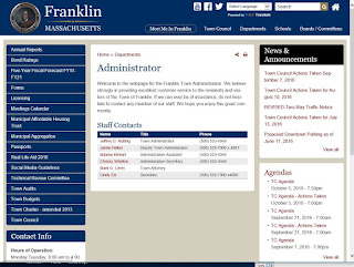 new Town of Franklin - Town Administrator page