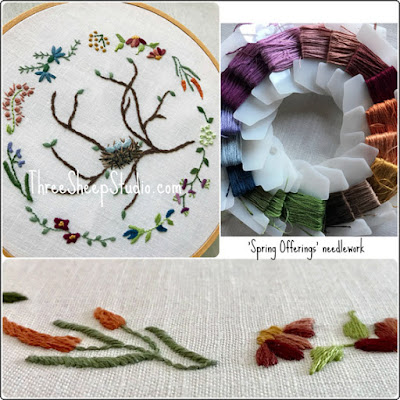 'Spring Offerings' needlework pattern by Rose Clay at ThreeSheepStudio.com