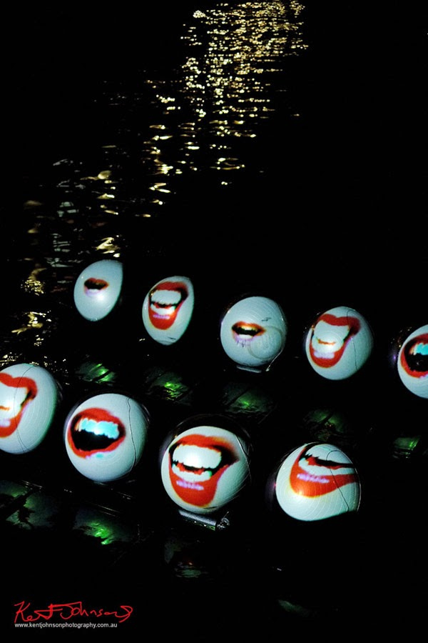 I think this was my favourite work this year, LOL Mouths by Luke Hespanhol at Walsh Bay for Vivid Sydney 2014 SydneybyNight.