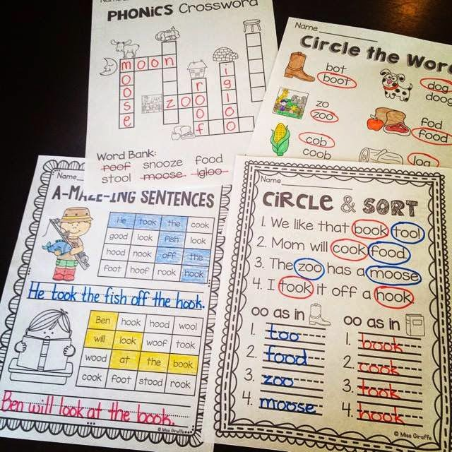 Practice the OO sound with these fun vowel teams worksheets that are no prep and fun
