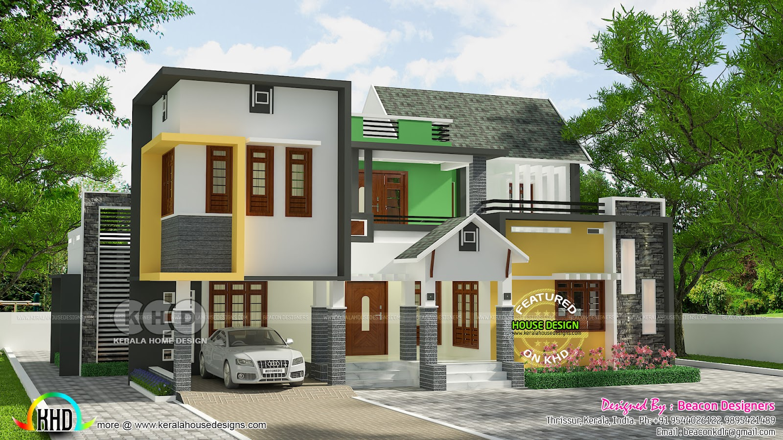4 Bedroom Mixed Roof Home Part - 20: First Floor Area : 747 Sq. Ft. Total Area : 2274 Sq. Ft. No. Of Bedrooms : 4.  No. Bathrooms : 4. No. Of Floors : 2. Design Style : Mix Roof