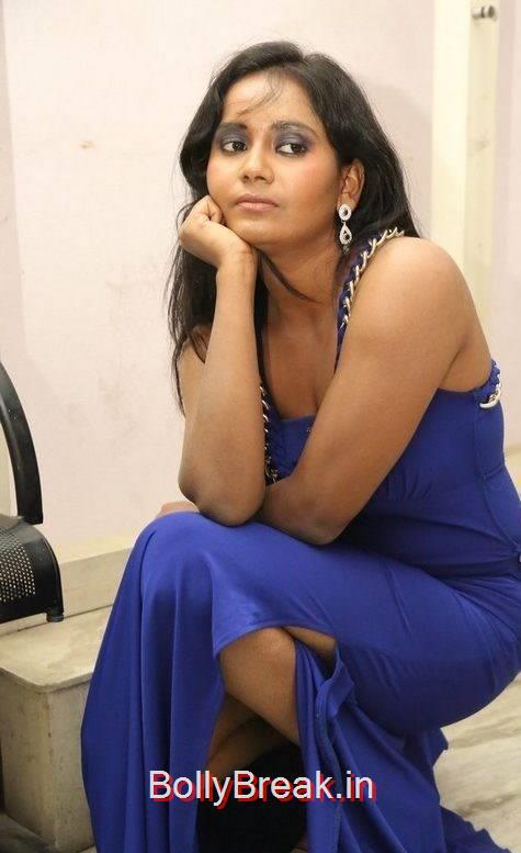 Anusha Pictures, Anusha Hot Pics in Blue Dress