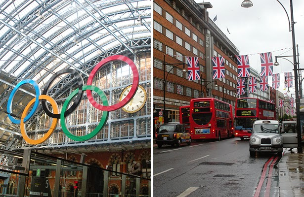 Olympic Rings in King's Cross Station and Union flags on Oxford Street