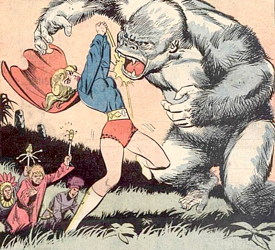 Supergirl #9, Supergirl throws a two handed punch at a giant white gorilla as witch doctors watch