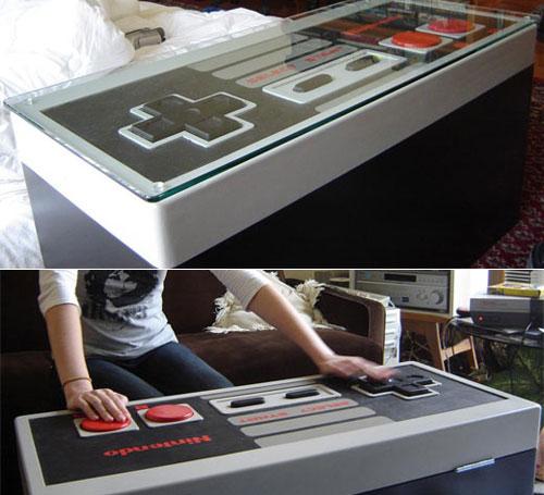 Mesa con control de nintendo gigante