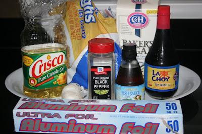 Ingredients for Vietnamese chicken: soy sauce, fish sauce, garlic, sugar, vegetable oil, black pepper