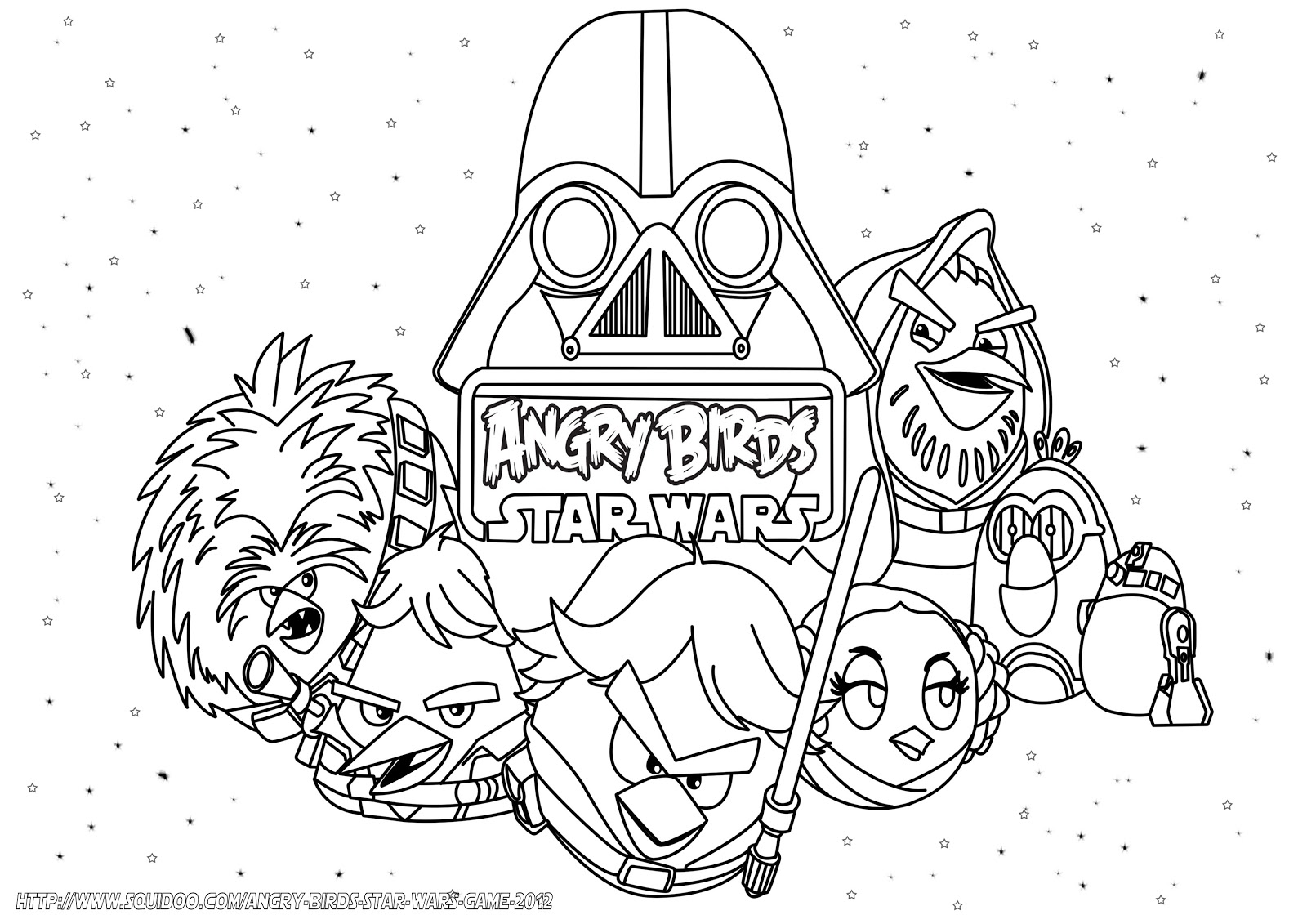 Angry birds starwars free colouring pages for Star wars christmas coloring pages