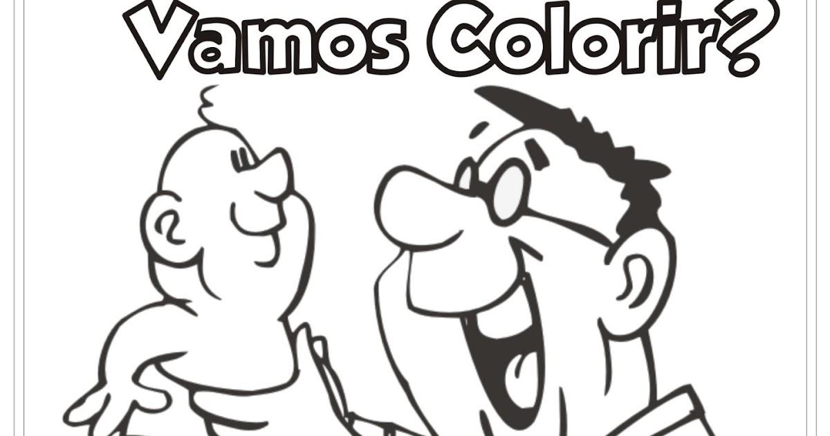 Desenho Pai Com Filho Bebê Para Colorir