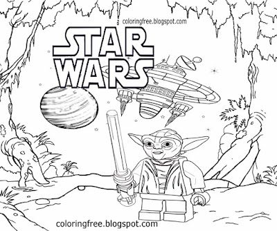 Formidable space warrior grand master Jedi lightsaber Yoda Lego star wars drawing for kids artwork