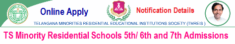 Telangana Minorities Residential Schools 5th Class Admission notification, Apply Online application form dates 2018