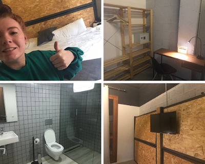 a collage of photos of a hotel room in palmas brick hotel