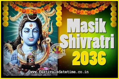 2036 Masik Shivaratri Pooja Vrat Date & Time, 2036 Masik Shivaratri Calendar