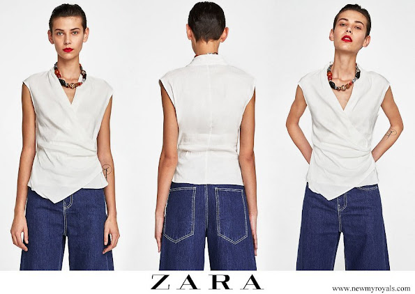 Queen Letizia wore ZARA Draped linen top