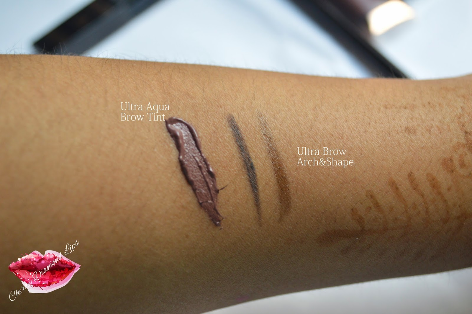 Swatches of Makeup Revolution brow products