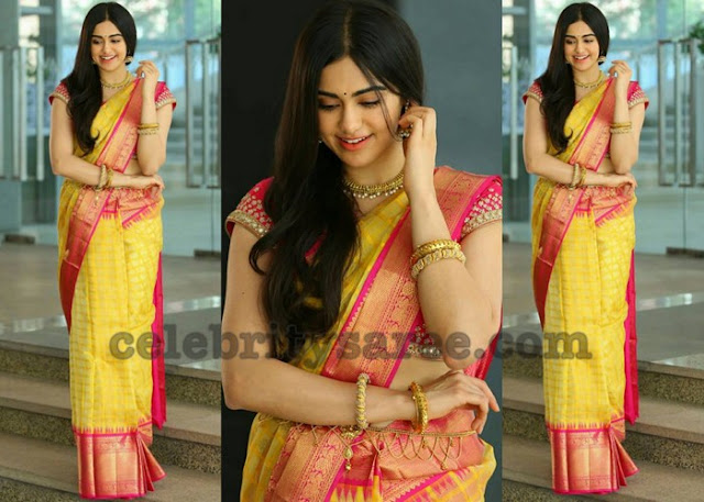Adah Sharma in Yellow Bridal Silk Sari