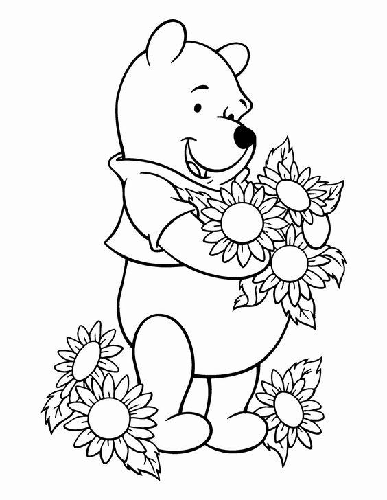 Tranh cho bé tô màu gấu Pooh 08