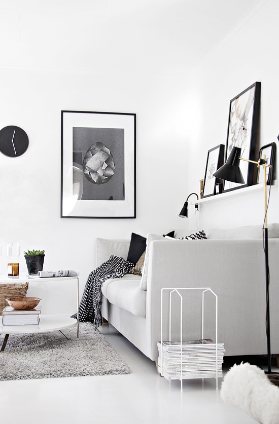 The living room of  Nina Holst of Stylizimo as featured in My Scandinavian Home.