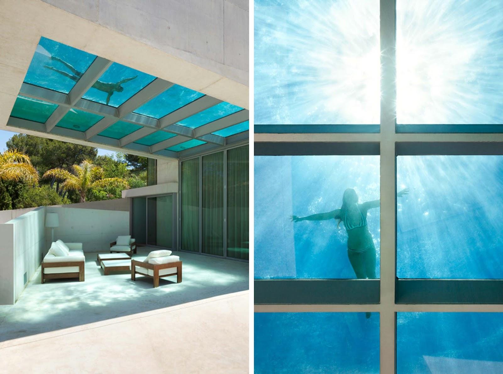 Piscina sul tetto in vetro per la jellyfish house di wiel for Piscina in casa