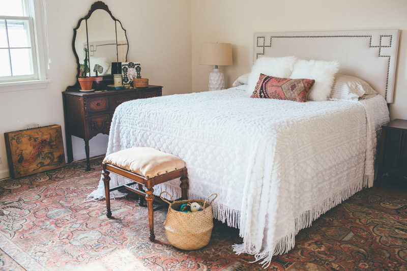 master bedroom with vintage bohemian decor