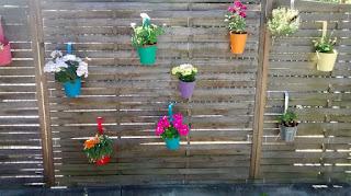Holzwand mit zahlreichen Blumentöpfen