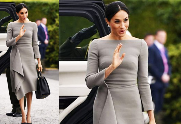 Duchess Meghan of Sussex arrives with Prince Harry to meet Ireland's President Michael Higgins at Aras an Uachtarain, Wednesday, July 11, 2018.