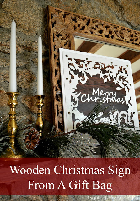 Wooden Christmas Sign From A Gift Bag