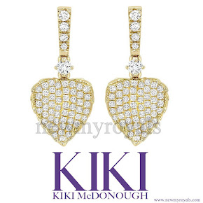 Kate Middleton jewelers KIKI McDONOUGH Lauren Yellow Gold Pave Diamond Leaf Earrings