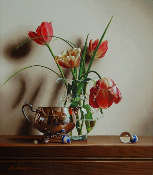 09-Rembrandt-Tulips-with-Pearl-Mark-Thompson-Photo-Realistic-Still-Life-Paintings-www-designstack-co